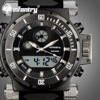 INFANTRY Men's Dual Quartz Chronograph Wrist Watch Backlight Black Rubber Multi Functional NEW Fashion Army Stylish