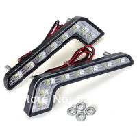 1pair 8 LED White Universal Car Auto Driving Fog 12V DRL Daytime Running Light Lamp For BMW Benz