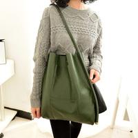 High quality 2014 new women handbag leather shoulder bags vintage messenger bag large bucket bags black and green free shiping