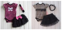 3pc Infant Kids Girls Baby Headband+bodysuit+Skirt Jumpsuit Outfit Clothes