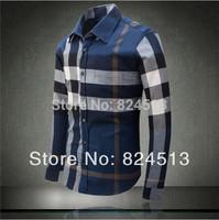 Special sales! Spring 2014 new hot fashion brand men's shirts long-sleeved plaid shirt casual classic 100% cotton shirt Slim