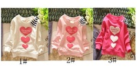 New baby kids girls Long Sleeve Cotton T shirt pullover sweater heart