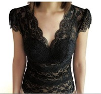 C-009 New 2014 Fashion Hollow Out Floral Lace Women's T-shirt Summer Black Short Sleeve Shirt Sexy Girl's Clothes