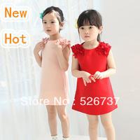 2013 children's clothing child dresses round vest dress cute flower baby girl dresses
