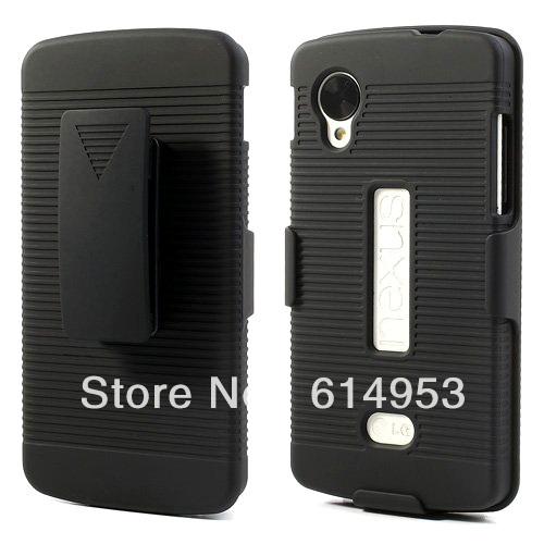 For LG E980 Google Nexus 5 case , Clamp Waist Outdoor Sports Transverse Stripe TPU Belt Clip Plastic Matte Hard Stand Case(China (Mainland))
