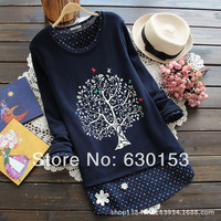 Winter fleece print the tree applique plus velvet thickening basic sweatshirt female