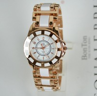 Free Shipping Black White New 2014 Hot Selling Fashion Wristwatch Gifts Girl Ladies Charm Women's Dress Watches Rose Gold