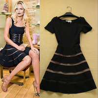 Free Shipping ! 2014 Spring Summer Fashion European Brand Elegant Slim Short Sleeve Stretch Pure Black & Red Cotton A-line Dress
