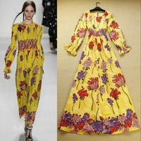 Free Shipping ! 2014 Fashion Spring Summer Runway Elegant Beach and Tantalising Flower Long Sleeve Yellow Printed Long Dresses