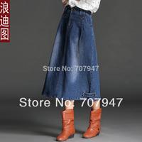 Free shipping vintage Denim skirt medium-long Skirts 2015 spring loose expansion bottom jeans skirts step skirt