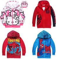 2014 Winter Boys Hoodie Jackets Children's Coat Spiderman coats for children Clothes Kitty Hoodie Kids cartoon baby outerwear