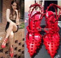 cheap 11cm pointed toe rivet high-heeled shoes Free shipping ladies shoes woman pumps sexy red bottom high heels rivets spikes