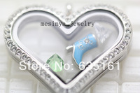 10pcs 30mm strong magnet czech crystal heart glass locket for floating charms