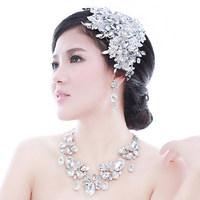 Luxury Handmade Crystal Pearl Lace Flower Bridal Head Piece Rhinestone Wedding Hair Accessories Bride Ornament Jewelry WIGO0241