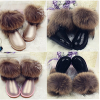 Women's   Snow  Boots  Brand  Low  Paillette  Buffalo  Hide  Genuine Leather  Shoes  Big  Wool  Fox  Fur  Boots  Black  Shoes