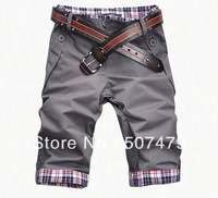Hot Sale, 2014 Spring and Summer High Quality Men's Plaid Decoration Slim Fashion Shorts 5 Pants Capris Casual Trousers