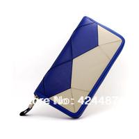 Genuine leather women's wallets white and black color-blocking high grade brand handbag card holder passport cover