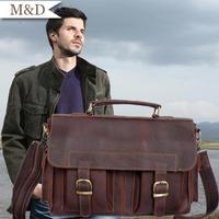 M&D New Arrivals Men's Business Bag Messenger Portfolio Bag Vintage Quality Briefcase Soft Leather