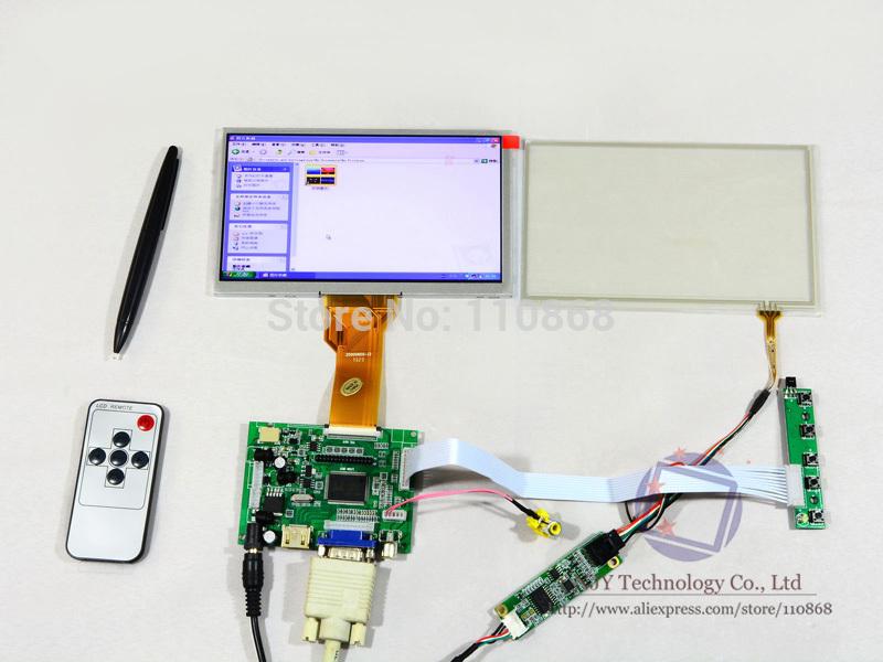 "Free Shipping HDMI+VGA+2AV+Remote Controller+AT070TN92+Touch Screen DIY 7"" LCD Module Display Monitor for Raspberry Pi(China (Mainland))"