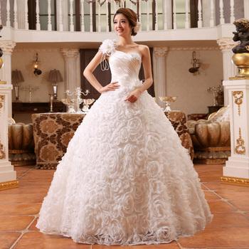 2014 новый невесты плечевой ремень свадебное платье одно плечо блестка повязку шнуровка свадебное платье бальное платье vestido де noiva A165