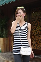 sleeveless cotton t shirt , free shipping women Lady's vest striped zipper decoration basic tank female tops WC0327