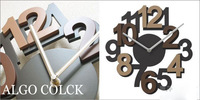 2014 Modern Design  Wood Wall Clock Wooden Digital Art 3 D Watch for Home Decoration Coffee Color Gifts Freeshipping