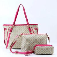 2014 New picture package women print genuine leather handbags shoulder messenger handbag casual big bag Composite package set