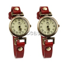 Free shipping!!!Cowhide Watch Bracelet,creative jewelry, with zinc alloy dial, antique bronze color plated, waterproof, red