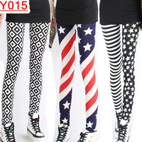 Milk silk blue and white porcelain plover grid leggings han edition stripe stars flag nine minutes of pants --Y015