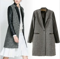High Quality Womens Warm Houndstooth PU Leather Sleeve Jacket Coats Parka Trench Windbreaker WC29