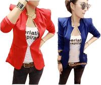 New Womens Korea Fashion Metal Collar Slim Shrug Blazer Coat suit 5 Colors black blue white yellow red S M WC148