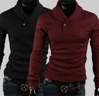 free shipping Pure Slim sweater solid color one button large size men's shirt outside pullover sweater men NCG01