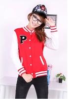 New Korean Womens Varsity/Baseball Uniform Hoodie Sports College Varsity Jacket Coat Outwear Free Shipping