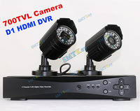 4CH 960H D1 HDMI DVR System with 2pcs 700tvl CCTV Camera DIY Security system 1080P DVR System