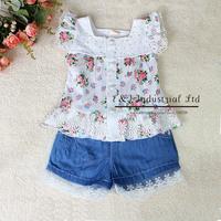 2014 Wholesale Kids Clothing Set  Summer Girl Clothing Sets Flower Print  Tshirt  Demin Shorts Children Wear Infant Clothing