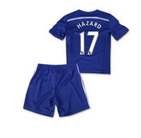 Customize!14/15 Chelsea kids / boy #17 HAZARD soccer jerseys(shirts+shorts) , Chelsea 2015 jersey for kids, Embroidery logo