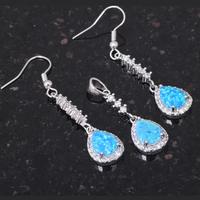 Popular 2014 new design Fashion jewelry blue fire opal silver 925 Zircon Jewelry Sets Earrings pendant OS026