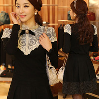 Elegant Women Lace T Shirt Blouse Top Stand Collar Long Sleeve Slim Fit Black Plus Size S-XL #NS010