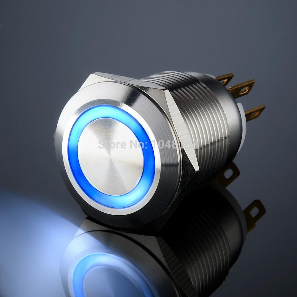 Blue led bouton poussoir en métal ip67 19mm/lumière/auto- blocage/étanche./high life/1no1nc/arc de cercle