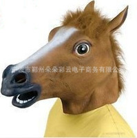 Free drop shipping 3pieces/lot Creepy Horse Mask Head Halloween Costume Theater Prop Novelty Latex Rubber J031