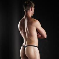 "1Pc  Super Sexy Bikini Sexy Men's Thong Underwear "" Show-it"" T-Back Underwear Ultra-low Rise  Mens Thongs G strings-Black"