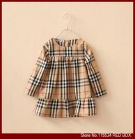 Spring children's clothing female child plaid doll long-sleeve dress child 100% cotton one-piece dress C0023