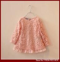 Spring  female child 100% cotton flower double layer lace one-piece dress child princess dress shirt C0027