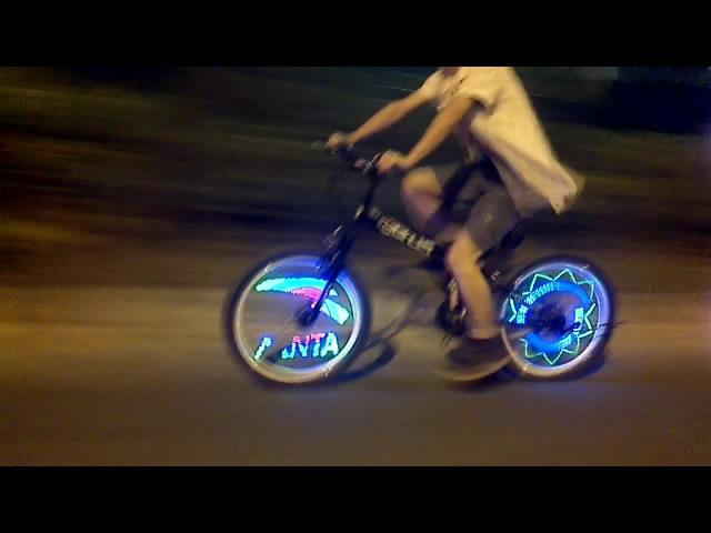 48 LED Bicycle Bike Programmable Wheel Flash Light Double-Side display 48 DIY Designs Patterns Rim Lighting RGB(China (Mainland))