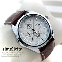 Beinuo Brand Men Leather Strap Watch Fashion Quartz Clock Male Business Wristwatch Military Watches MN4803