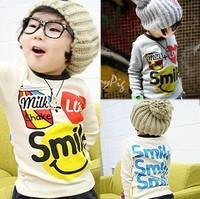 Free shipping,Spring children's long sleeve T shirt,Cotton children's clothing brand wholesale children's T-shirt smiley TZ18A07