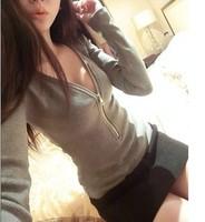 2014 Spring Summer New Fashion Elegant V-Neck Small Sexy Zipper Long-Sleeve Basic T Shirt Women Tops  FL2209