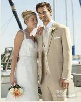 2014 Custom Made Beige Groom Tuxedos Groomsmen Men Wedding Suits Best man Suits Prom Clothing (jacket+pants+waistcoat+tie) DH:23