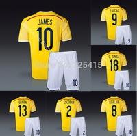 Camisetas colombia 2014 home yellow national soccer uniforms football kits include jersey & short james falcao guarin valderrama