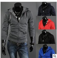 Foreign trade Spring and Autumn new T -shirt Men Slim Hooded long-sleeved cardigan colored long-sleeved T-shirt bottoming shirt